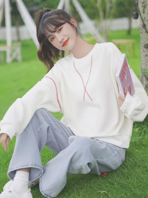 Red Stitches Designed White Sweater (5)