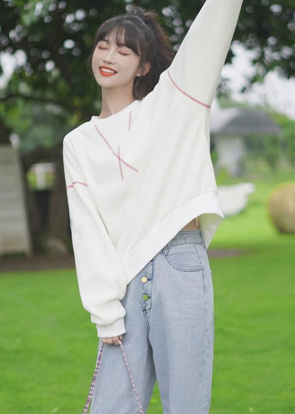 Red Stitches Designed White Sweater