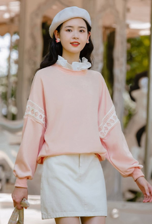 Ruffled Collar And Laced Pink Sweater
