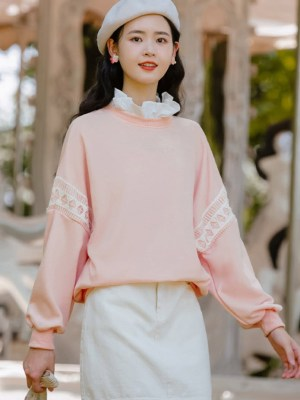 Ruffled Collar And Laced Pink Sweater (6)
