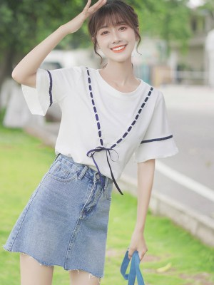 Running Blue V Ribbon Blouse (3)