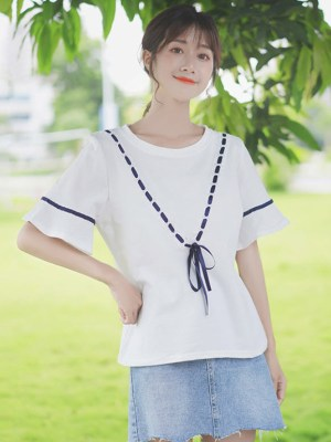 Running Blue V Ribbon Blouse