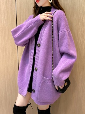 Shim Cheong – The Legend Of The Blue Sea Purple Knitted Cardigan With Pockets (20)
