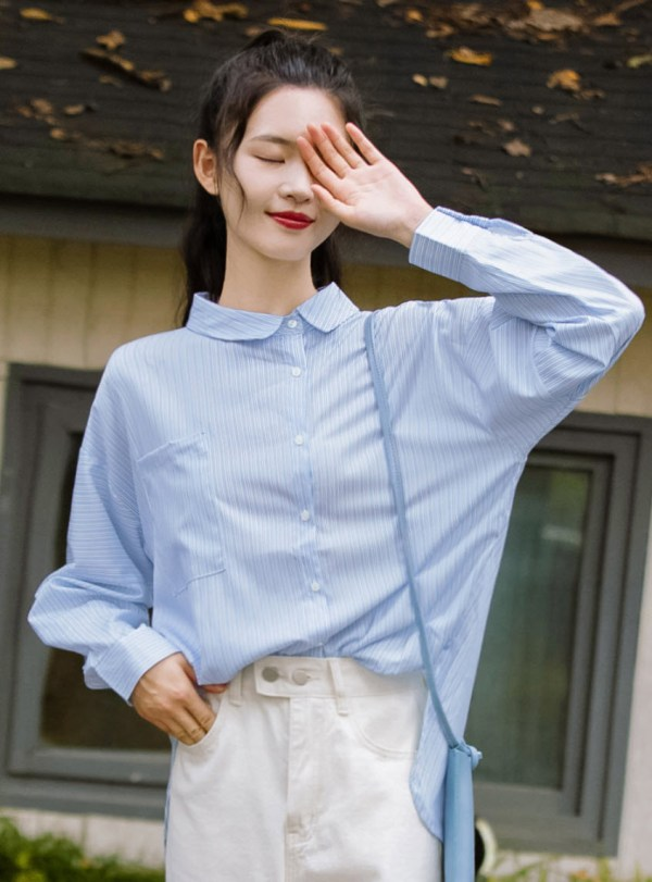 Striped Blue Collared Shirt