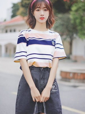 Striped Drink Cup Embroidered T-Shirt (2)