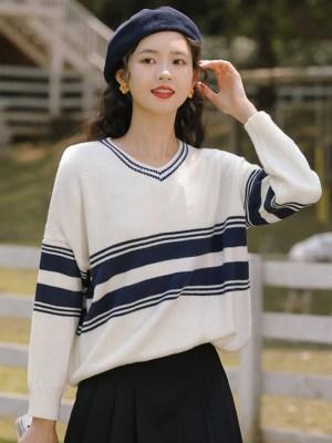 V-Neck Blue Striped Sweater (3)