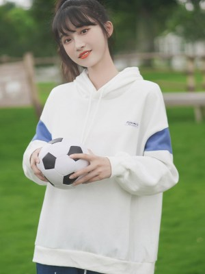 White Hoodie With Blue Color Block On Sleeves (3)