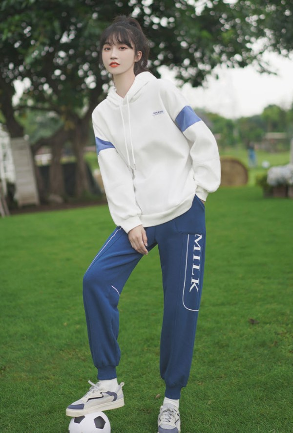 White Hoodie With Blue Color Block On Sleeves