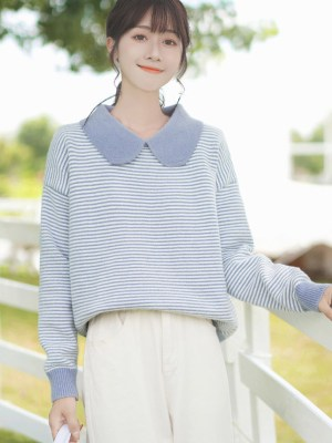 Wide Collar Blue Striped Sweater (3)