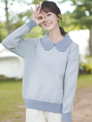Wide Collar Blue Striped Sweater