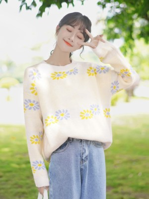 Yellow And Blue Flowers Apricot Sweater (5)