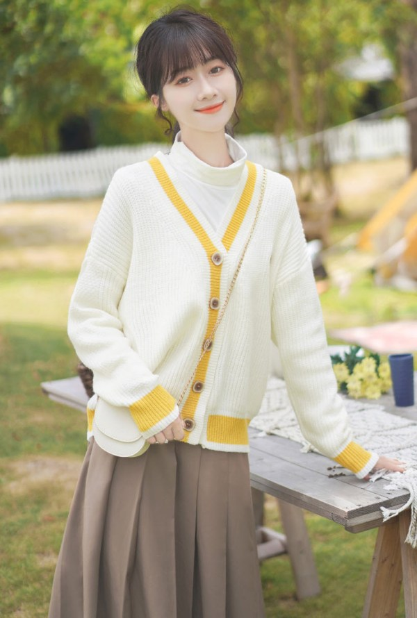 Yellow Outlined White Cardigan