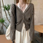 Black And Beige Striped Cardigan | Hyuna