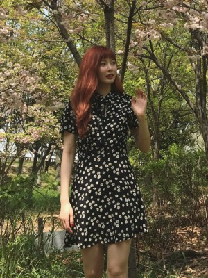 Floral Printed Mini Dress | Hyuna
