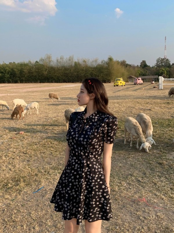 Floral Printed Mini Dress | Hyuna