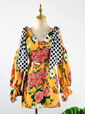 Hyuna – Yellow Wrapped Chest Floral Dress (6)