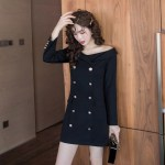 Black Off-Shoulder Blazer Dress | Jennie – BlackPink