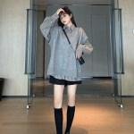 Grey Shirt With White Stripes | Jisoo -BlackPink