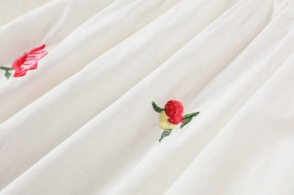 Flower Embroidered Lace-Up White Dress   Joy – Red Velvet