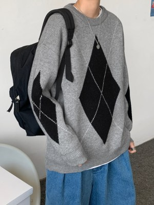 Kim Jin-Woo – Record Of Youth Grey Sweater With Diamond-Shaped Pattern (10)