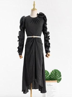 Ko Moon‑Young – It's Okay Not To Be Okay Polka Dot Black Lettuce Dress (12)