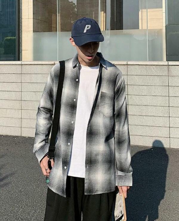 Gradient Black And White Plaid Shirt | Lucas – NCT