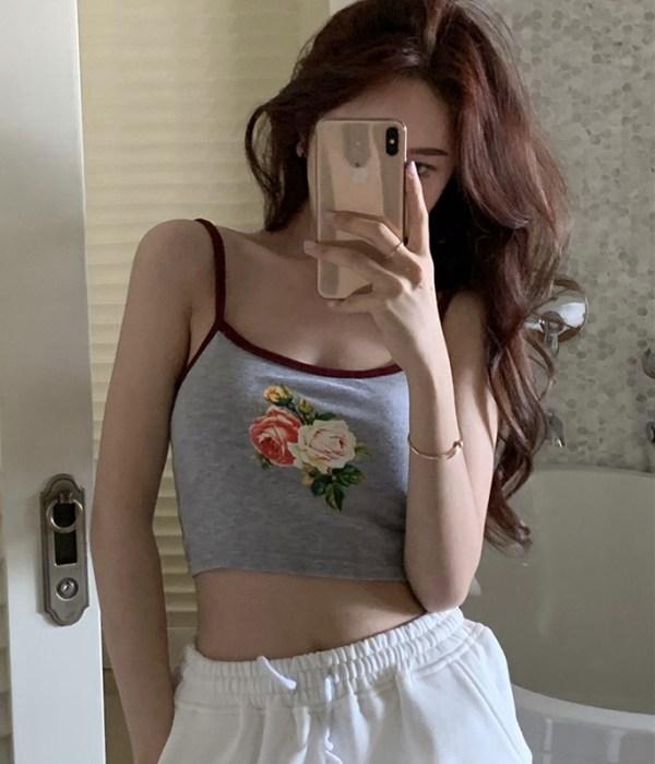Grey Cropped Tank Top | Momo – Twice