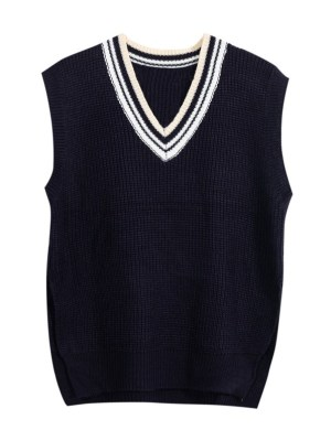 Rose – BlackPink V-Neck Knitted Sweater Vest (11)