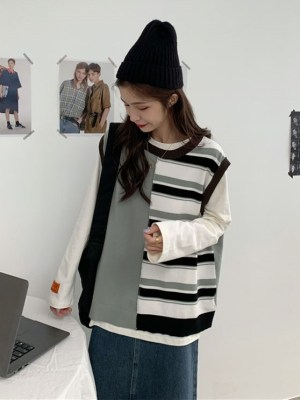 Sa Hye-Jun – Record Of Youth Contrast Stitching Striped Vest (10)