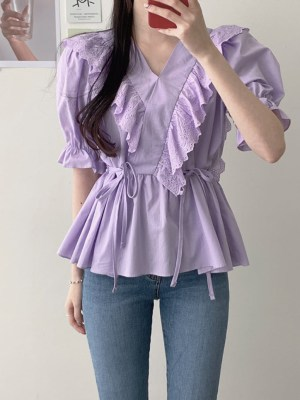 Shuhua Lilac Ruflled Lace Blouse (7)