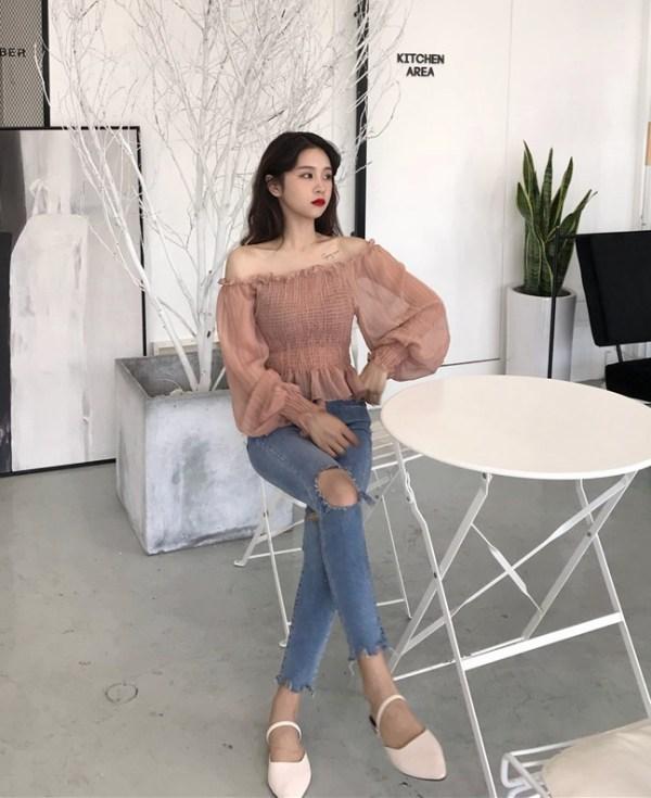 White Shirred Chiffon Top | Yeojin – Loona