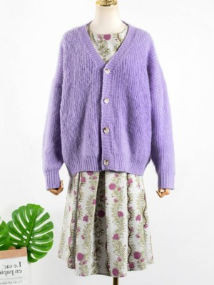 Yoon Se Ri Lilac Simple Buttoned Knit Cardigan (2)