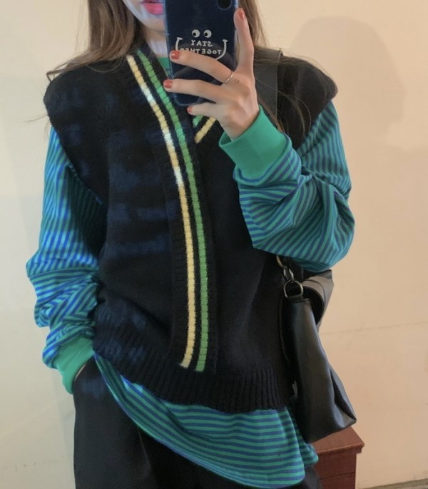 Knitted Vest With Stripe Detail | Yugyeom – GOT7
