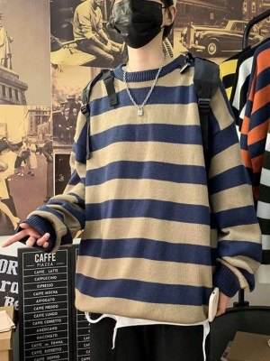 Blue Brown Striped Loose Sweater (2)