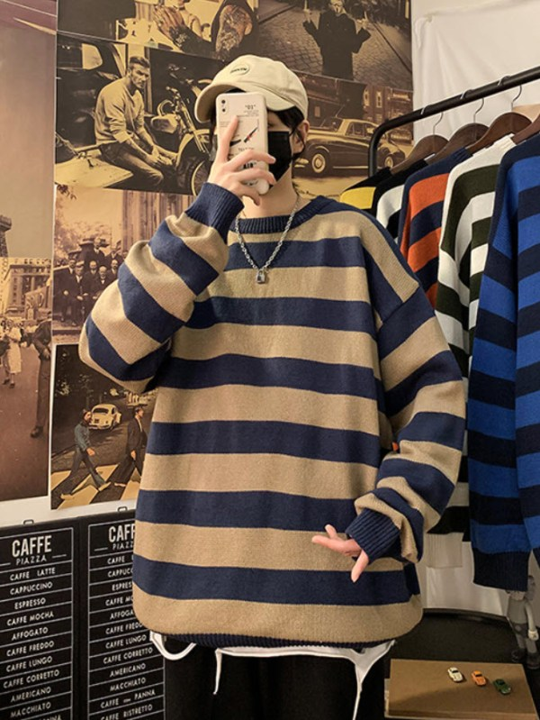 Blue Brown Striped Loose Sweater | Haechan – NCT