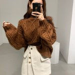 Brown Knitted Turtleneck Sweater | Dahyun – Twice