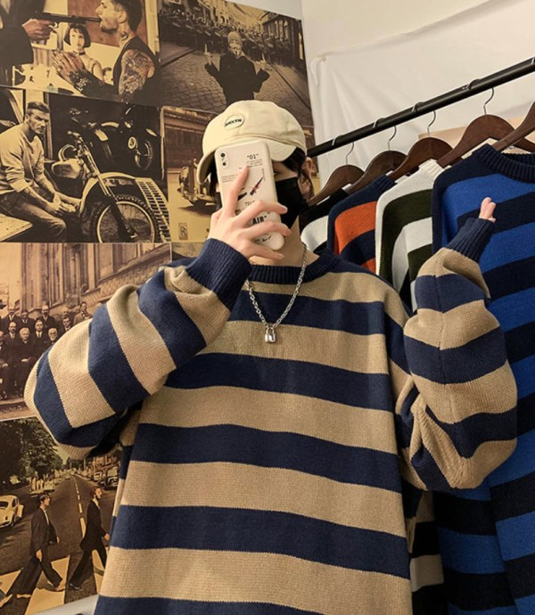Blue Brown Striped Loose Sweater   Haechan – NCT