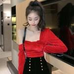 One Side Off-Shoulder Red Velvet Crop Top | Hyuna