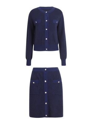 Jennie – BlackPink Navy Blue Cardigan And Skirt Set (1)