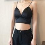Black Silk Cropped Top   Jisoo -BlackPink