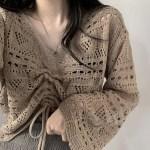 Khaki Crochet Knitted Top | Jisoo -BlackPink