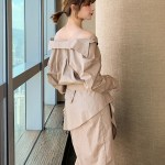 White Asymmetric Off-Shoulder Dress   Yeri – Red Velvet
