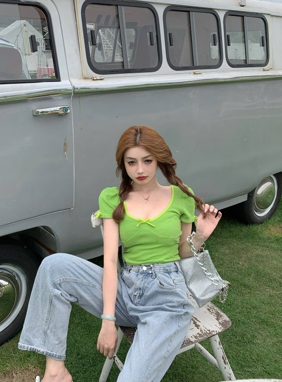 Green Bowknot Cropped T-Shirt | Giselle – Aespa