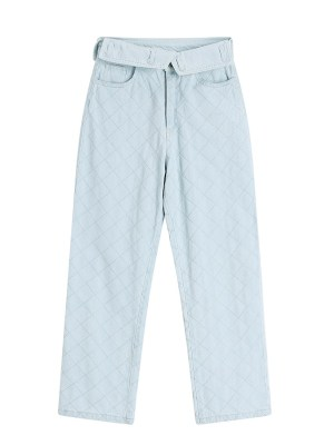 Jennie – BlackPink Light Blue Folded Waist Grid Jeans (10)