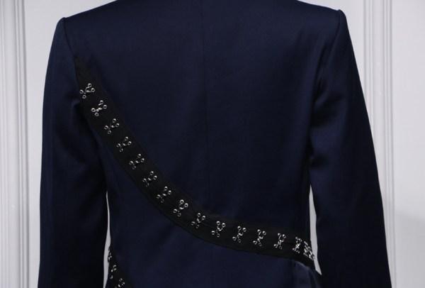 Navy Blue Hook And Eye Pleated Dress | Lisa – BlackPink
