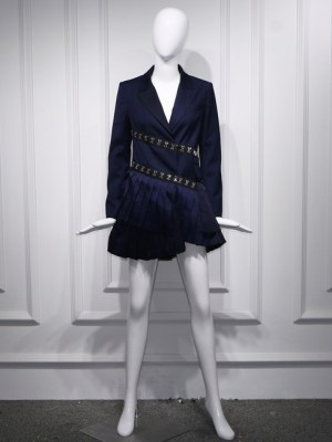 Lisa – BlackPink Navy Blue Hook And Eye Pleated Dress (19)