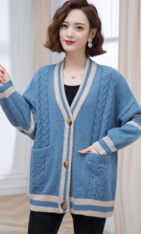 Blue Striped And Braided Knot Cardigan | Miyeon – (G)I-DLE