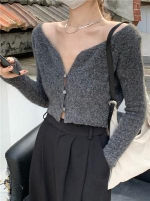 Rose – BlackPink Grey Cropped Cardigan (16)