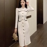White Long Sleeve Dress With Flower Buttons | Rose – BlackPink
