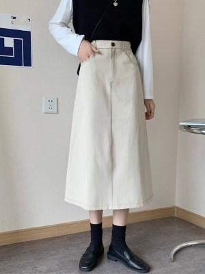Seulgi – Red Velvet Beige A-Line Cut Skirt (15)
